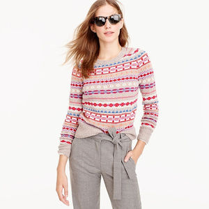 J CREW Crew Neck Wool Fairisle Pullover Sweater